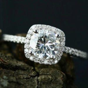 Brand new white gold halo engagement diamond ring